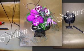 Collection de contenants «made in Esprit nature», faits main, fleuris par nos soins.