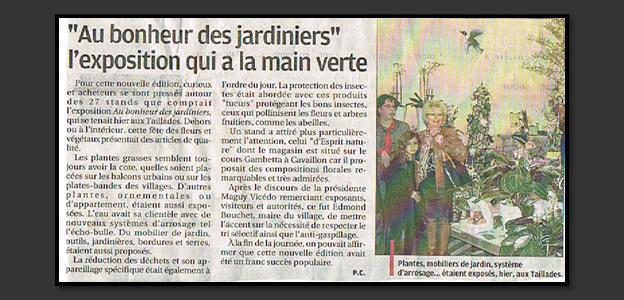 Article de presse «au bonheur des jardiniers»